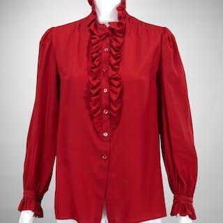 Vintage Yves Saint Laurent red ladies silk blouse