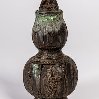 Chinese Bronze Double Gourd Vessel