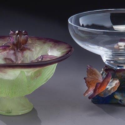 (2) Daum pate de verre glass vessels