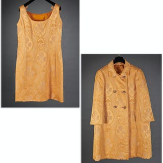 Ben Zuckerman yellow dress & coat ensemble