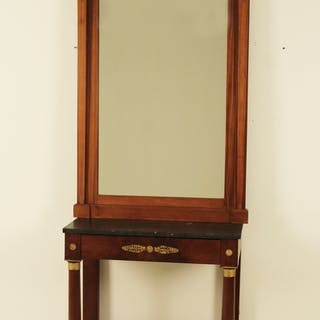 FRENCH EMPIRE STYLE MAH. CONSOLE/MIRROR