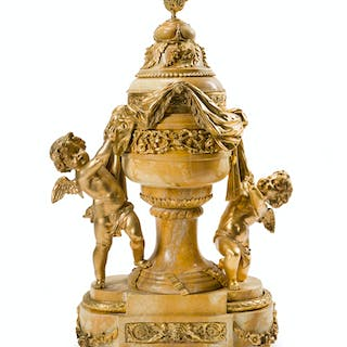 A gilt bronze-mounted Sienna marble sculpture