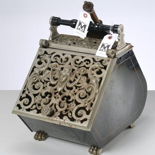 Victorian cast steel and tin coal scuttle