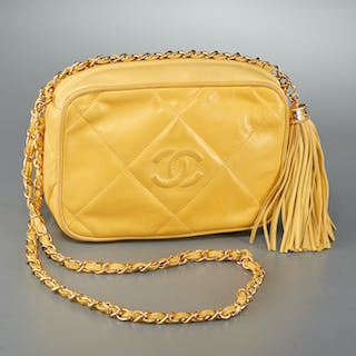 Chanel matelasse quilted yellow calfskin handbag