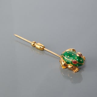 David Webb enameled 18k gold frog stick pin