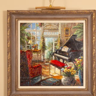 Interior Genre Scene with Piano, Giclee