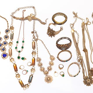 Bag of Gold-Tone Costume Jewelry