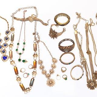 Bag of Gold-Tone Costume Jewelry
