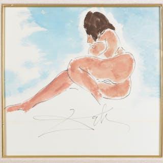 Salvador Dali (attrib.), watercolor nude