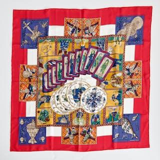 "Hermes Paris ""Le Tarot"" silk scarf"