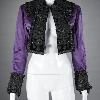 Satin beaded bolero jacket, style of Schiaparelli