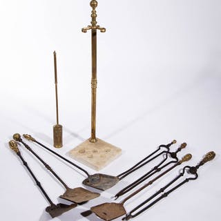 AMERICAN OR ENGLISH BRASS AND IRON FIREPLACE TOOLS AND STAND