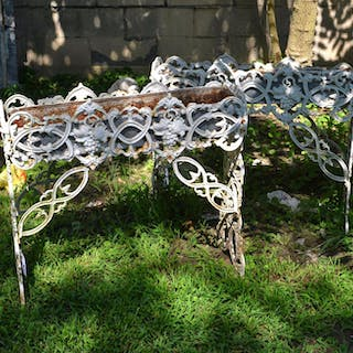 Nice old pair cast iron grape vine planters