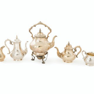 A five-piece English sterling silver coffee and tea service