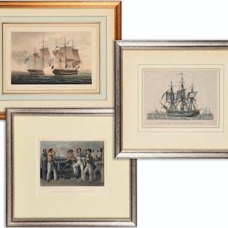 (3) Engravings, Naval Achievements, 19th c.