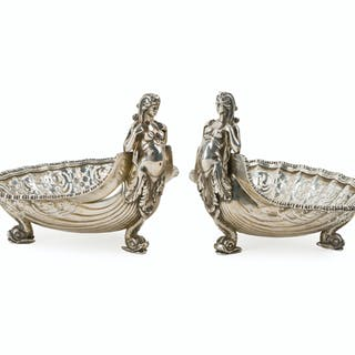 A pair of E.F. Caldwell & Co. neoclassical silver nut dishes