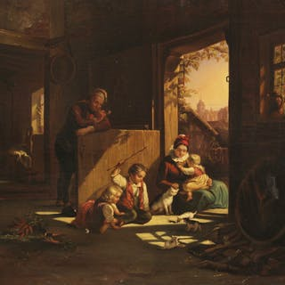 19TH C. O/C INTERIOR SCENE PAINTING