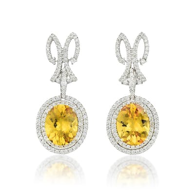 A Pair of Yellow Sapphire Drop Earrings