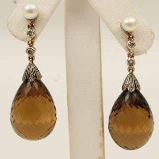 18K GOLD DIAMOND AND CITRINE DROP EARRINGS