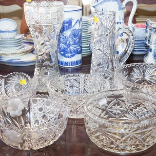 Assorted Cut and Pressed Glass Serving Pieces