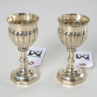Pair Austro-Hungarian silver fluted goblets