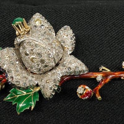 14k Two-tone Gold, Diamond, Emerald, Enamel Brooch