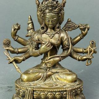 A Tibetan Copper Alloy Figure of Ten-Thousand-Armed Bodhisattva