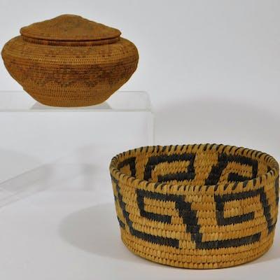 2 Native American Tlingit & Papago Woven Baskets