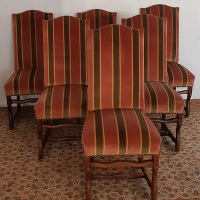 SET OF 6 UPHOLSTER LOUIS XIII CHAIRS