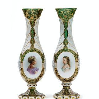A pair of Bohemian cut-glass portrait vases
