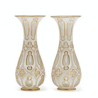 A pair Bohemian cut-glass vases