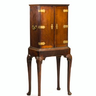 An English mahogany cabinet on stand