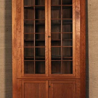 EARLY AMERICAN CHERRY CORNER CUPBOARD