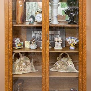 Late Victorian Oak & Glass Panel Bookcase