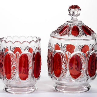 HUNTINGTON - RUBY-STAINED TABLE ARTICLES, LOT OF TWO