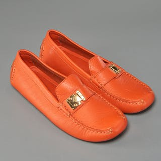 Louis Vuitton ladies orange driving loafers