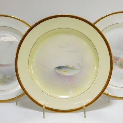 3PC American Belleek Porcelain Pheasant Fish Plate