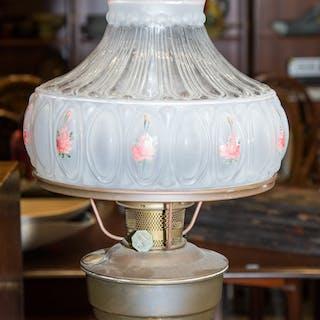 Aladdin Brass Kerosene Lamp; Glass Shade