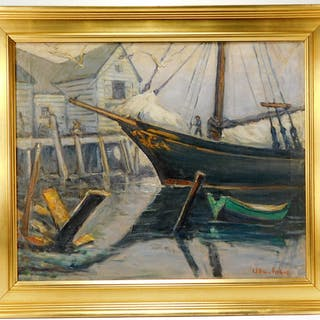 William Fisher Maritime Harbor Seascape Painting