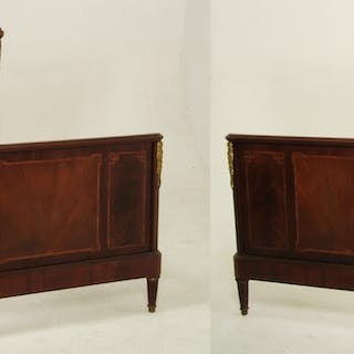 PR OF LOUIS XVI STYLE BRONZE MOUNTED BEDS