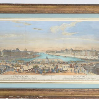 View of Paris, hand colored engraving, 18th c.