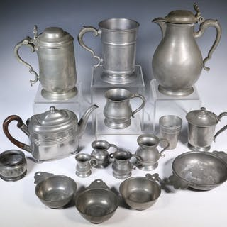 (16 PCS) EARLY PEWTER VESSELS