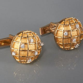 Men's 14k gold cufflinks with diamonds
