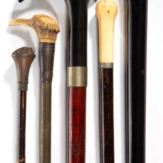 ASSORTED AMERICAN OR CONTINENTAL CANES / WALKING STICKS, LOT OF FIVE