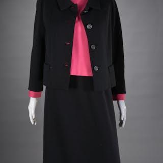 Norman Norell black & pink jacket dress