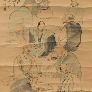 Japanese Scholarly Men Hanging Wall Scroll