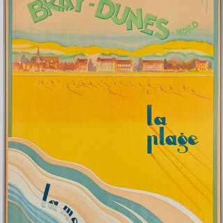 Vintage Grau Bray-Dunes French travel poster