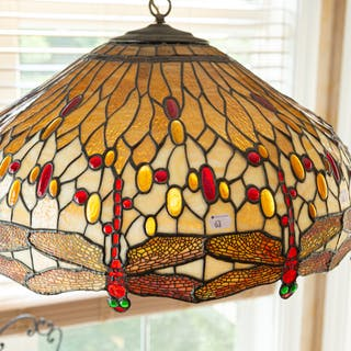 Tiffany Style Stained Glass Dragonfly Hanging Lamp