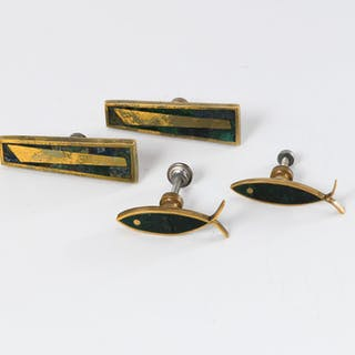 (4) Los Castillo bronze and malachite drawer pulls