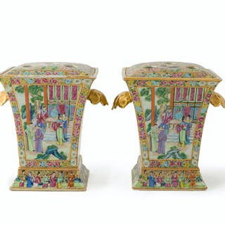 A pair of Chinese Rose Canton vases
